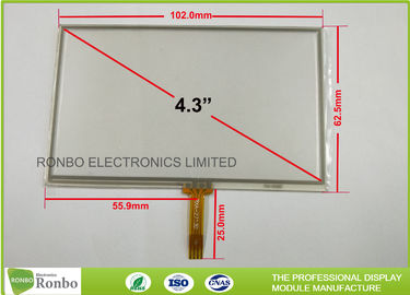 4.3 Inch 4 Wire Touch Panel , Soldering Type FPC Connector Industrial Touch Panel