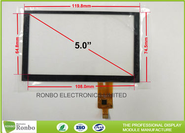 Tempered Glass G + G Capacitive Touch Panel , 5.0 inch 800x480 Multi Touch Screen